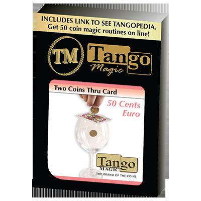 Two Coins Thru Card (E0016) (50 cent Euro) by Tango - Trick