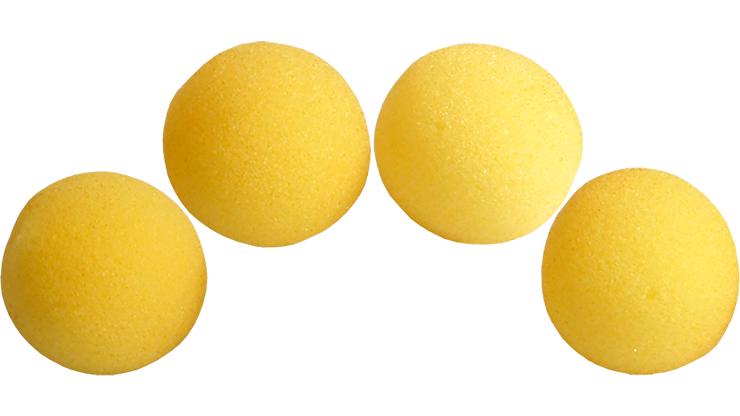 4 Bolas de Esponja Super Suave - 3 Pulgadas (Amarillo) - Magic by Gosh