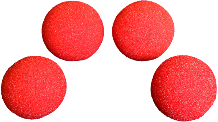4 Bolas de Esponja Super Suaves - 2.5 pulgadas - Rojo