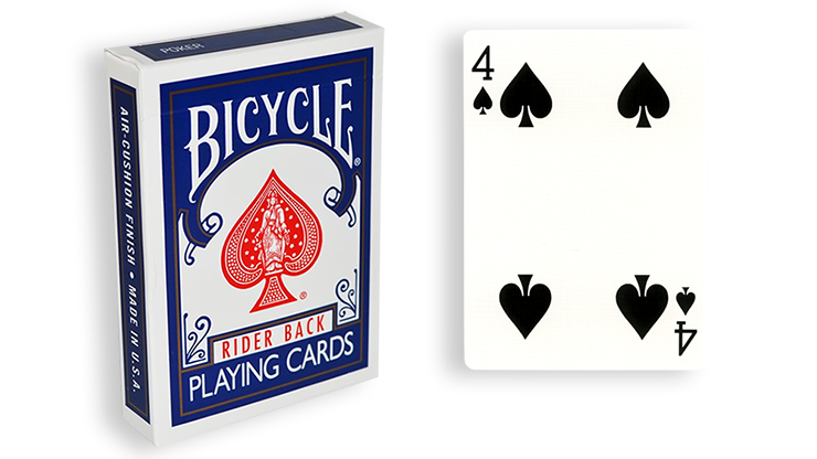 Cartas para Forzar - 1 Eleccion - 4 de Espadas - Cartas Bicycle - Azul