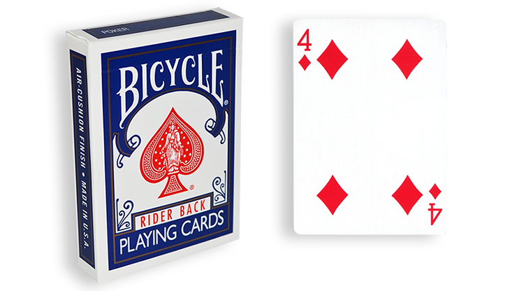 Cartas para Forzar - 1 Eleccion - 4 de Diamantes - Cartas Bicycle - Azul