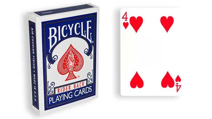 Cartas para Forzar - 1 Eleccion - 4 de Corazones - Cartas Bicycle - Azul