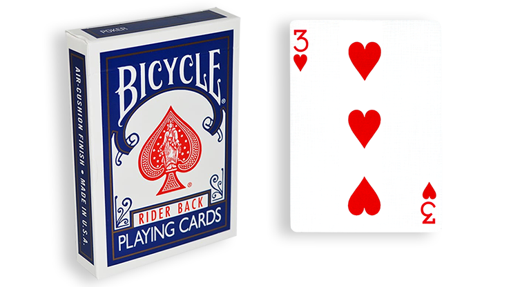 Cartas para Forzar - 1 Eleccion - 3 de Corazones - Cartas Bicycle - Azul