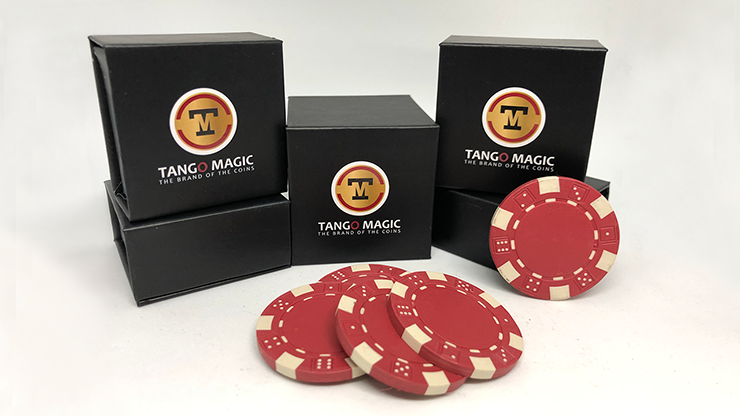 Expanded Shell Poker Chip Red plus 4 Regular Chips (PK001R) by Tango magic - Trick