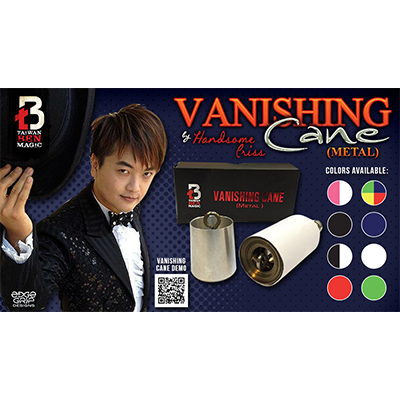 Vanishing Cane (Metal / Red & White) by Handsome Criss and Taiwan Ben Magic s