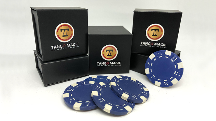Expanded Shell Poker Chip Blue plus 4 Regular Chips (PK001B) - Tango Magic