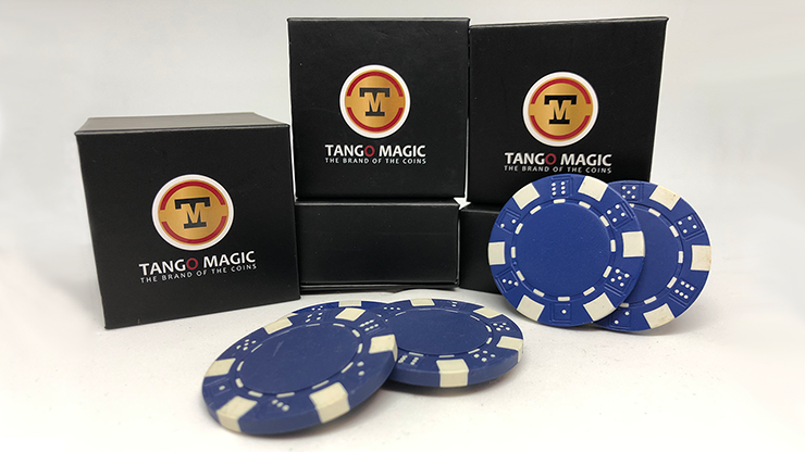 TUC Poker Chip Blue plus 3 regular chips (PK002B) by Tango Magic