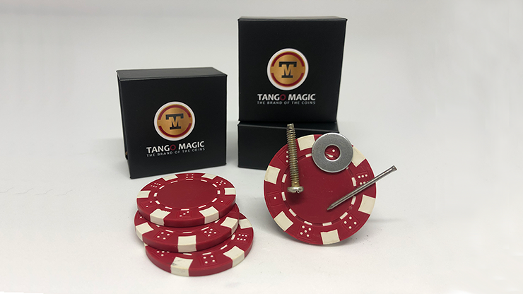 Magnetic Poker Chip Red plus 3 regular chips (PK003R) - Tango Magic