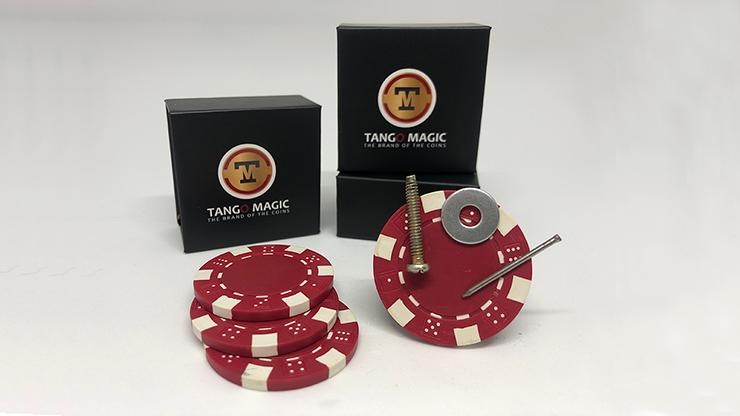 Magnetic Poker Chip Red  plus 3 regular chips (PK003R)