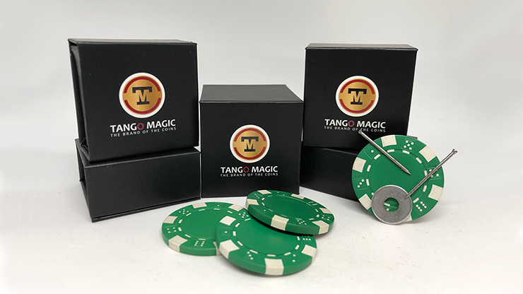 Magnetic Poker Chip Green plus 3 regular chips (PK003G) - Tango Magic