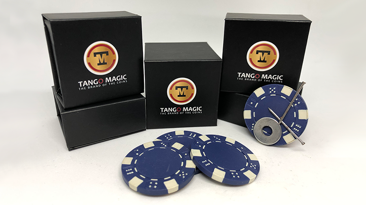 Magnetic Poker Chip Blue plus 3 regular chips (PK003B) by Tango Magic