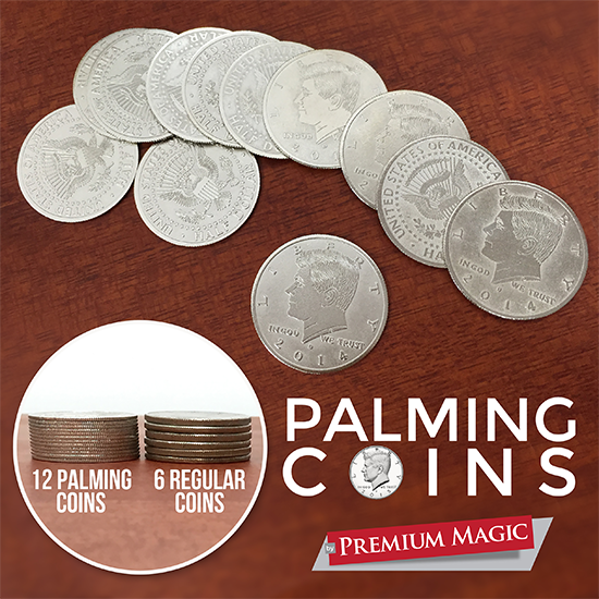 Palming Coin Set (U.S. Half design /12 piece) by Premium Magic