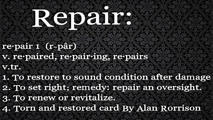 Repair by Alan Rorrison video DOWNLOAD