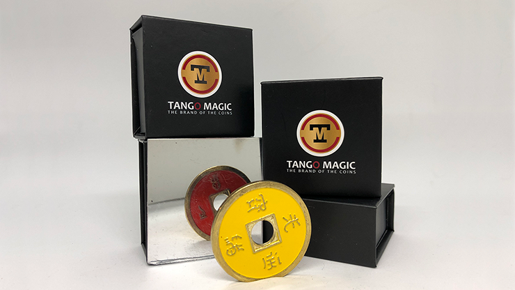 Dollar Size Chinese Coin (Yellow and Red) by Tango (CH038)