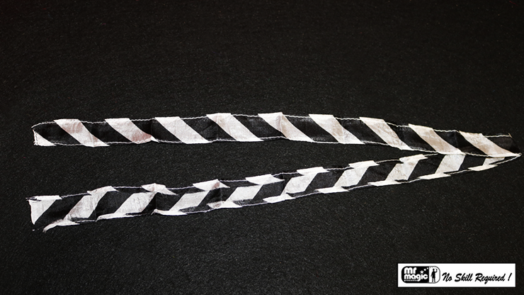Thumb Tip Streamer Zebra 3' (Black and White) by Mr. Magic - Trick