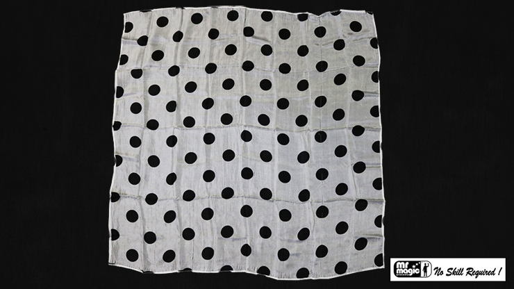 "Polka Dot Hanky, Black on White (21"" x 21"") by Mr. Magic - Trick"