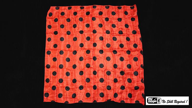 "Polka Dot Hanky, Black on Red (21"" x 21"") by Mr. Magic - Trick"
