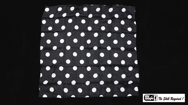 Polka Dot Hanky, White on Black (21 inches x 21 inches) by Mr. Magic - Trick