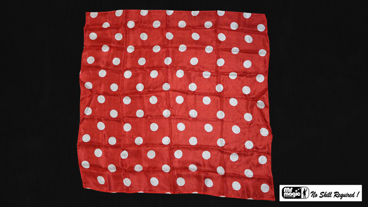 "Polka Dot Hanky, White on Red (21"" x 21"") by Mr. Magic - Trick"