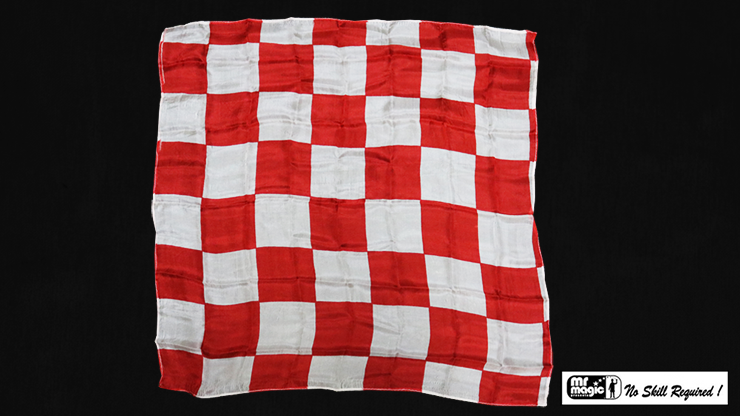"Production Hanky Chess Board Red and White (21"" x 21"") by Mr. Magic - Trick"