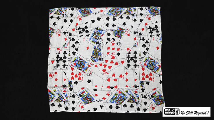 "Production Hanky Multi Card Print (21"" x 21"") by Mr. Magic - Trick"