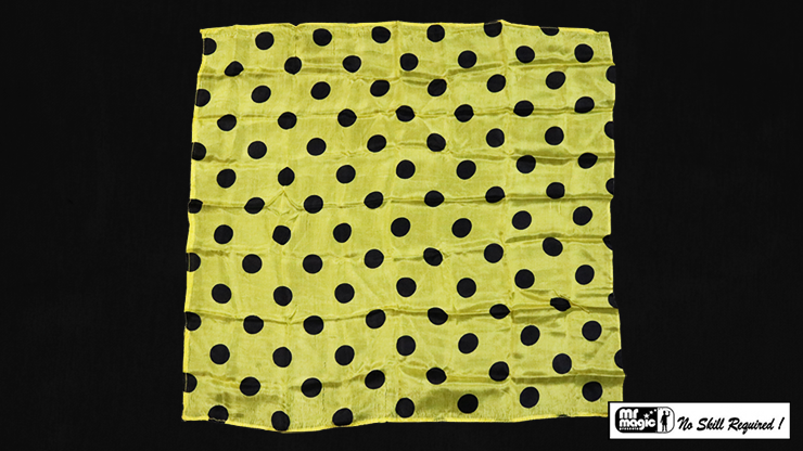 "Polka Dot Hanky, Black on Yellow (21"" x 21"") by Mr. Magic - Trick"