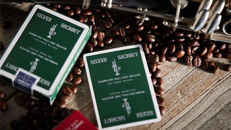 Silver Sackbut Playing Cards (Green)