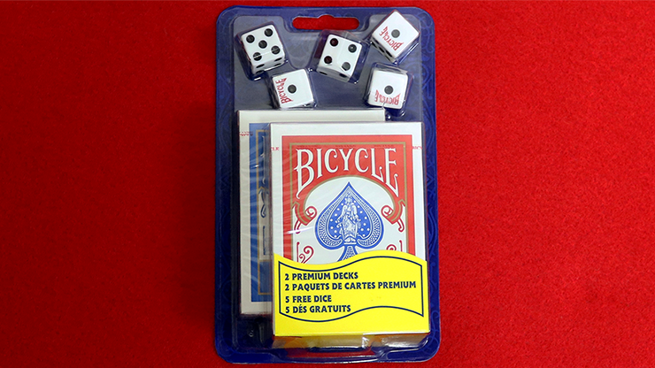 Cartas Bicycle 2 Decks Standard Poker & 5 Dice Set