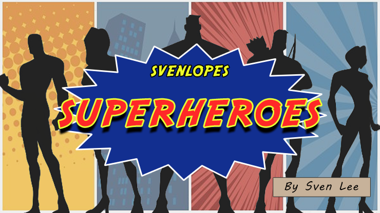 Svengali Envelopes (SUPERHEROES) (4 x 6 Black) by Sven Lee - Trick