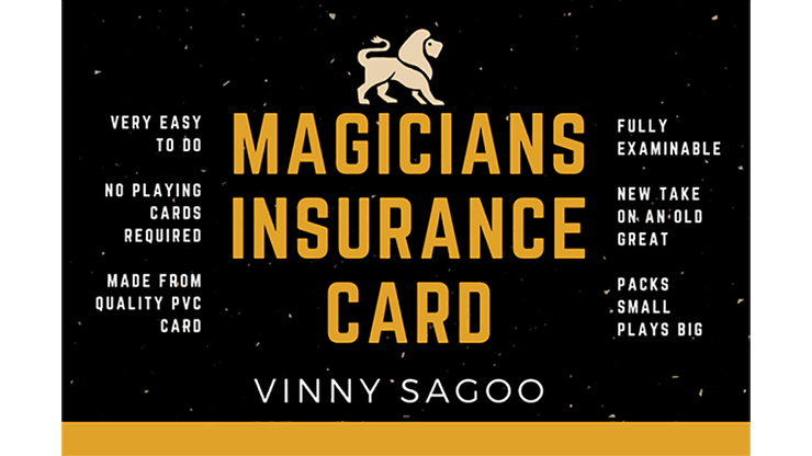 Magicians Insurance Card by Vinny Sagoo - Trick