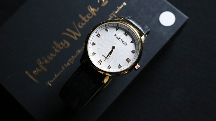 Infinity Watch V2 - Gold Case White Dial Version (Gimmick and Online Instructions) by Bluether Magic - Trick