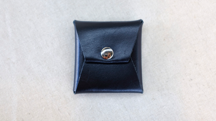 Square Coin case (Black Leather) by Gentle Magic Münzetui aus schwarzem Leder