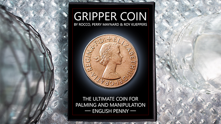 Gripper Coin (Single/ English Penny) by Rocco Silano Übungs-Trickmünze mit Silikonrand