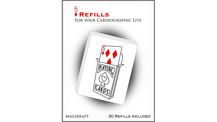 Cardiographic Lite RED CARD 5 of Diamonds Refill by Martin Lewis Nachfüllmaterial, Karo 5