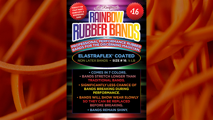 Joe Rindfleisch's SIZE 16 Rainbow Rubber Bands (Daniel Garcia - Orange Pack  ) by Joe Rindfleisch - Trick