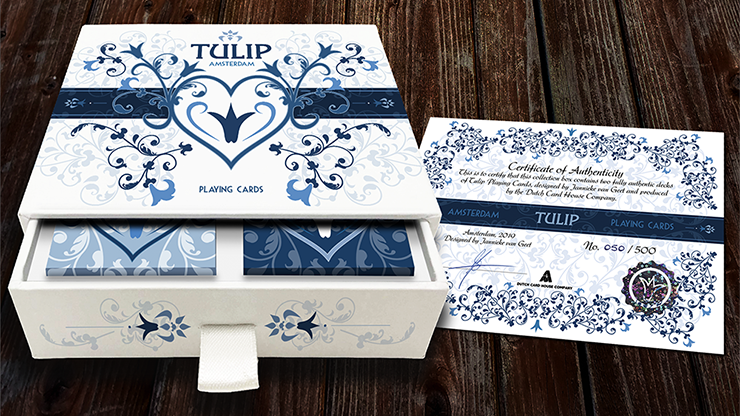 Limited Edition Tulip Playing Cards Set (Dark Blue and Light Blue) - Dutch Card House Company