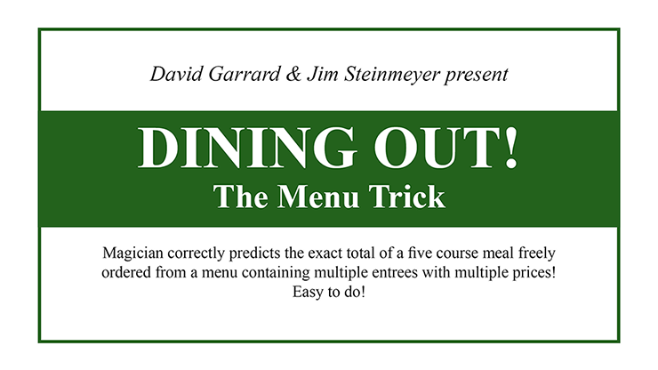 Dining Out! The Menu  - David Garrard and Jim Steinmeyer