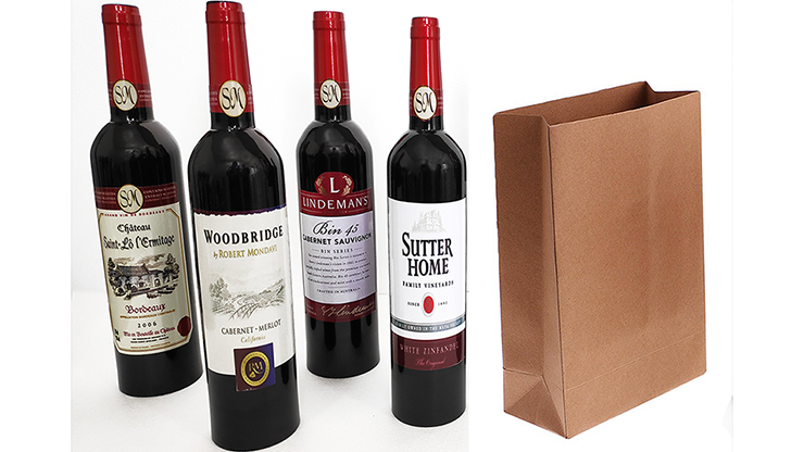 Wine Bottles From Paper Bag (4 Bottles) - Tora Magic