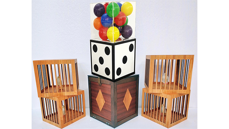 Transformation of Dice to Crystal Cube then to 4 Cages (Wooden) - Tora Magic