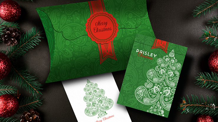 Paisley (Metallic Green with Christmas Gift Box) Playing Cards - Dutch Card House Company