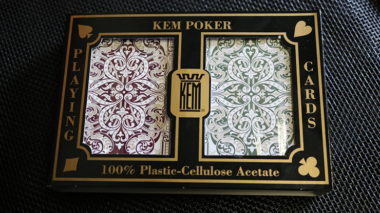 KEM Bridge Plastic Playing Cards Jacquard (Purple and Green 2 Deck Set Jumbo Index)