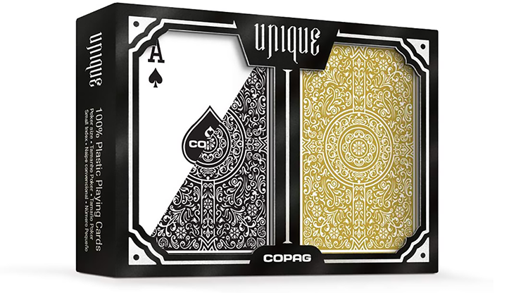 Copag Unique Plastic Playing Cards Poker Size Regular Index Blac