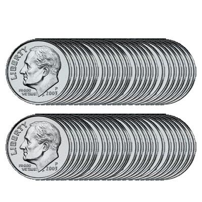 U.S. Dimes, unAccesorioed roll of 50 coins