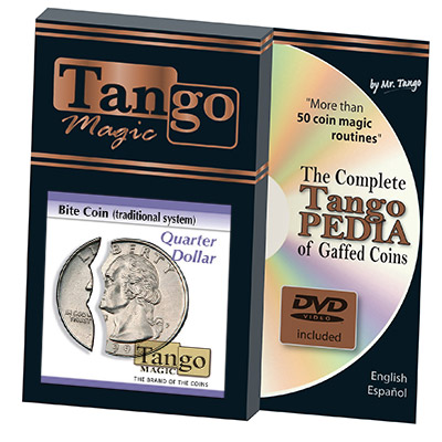 Bite Coin - Moneda Mordida y Restaurada - Cuarto USD Dolar (Tradicional con Pieza Extra) - Tango