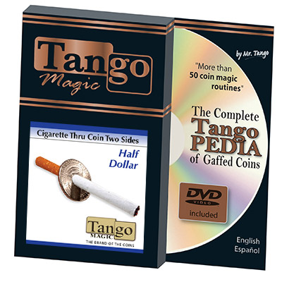 Cigarette Through Half Dollar (Two Sided) by Tango