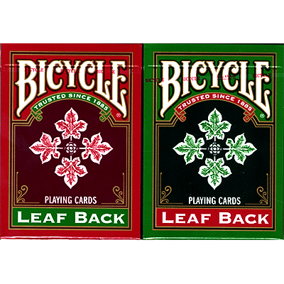 Bicycle Leaf Back Holiday Decks (6 pack contain 3 Red and 3 Green) by USPCC - Trick