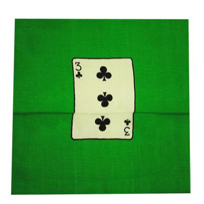 Card Silk Set 9 inch (3 of clubs + blank) by Vincenzo Di Fatta