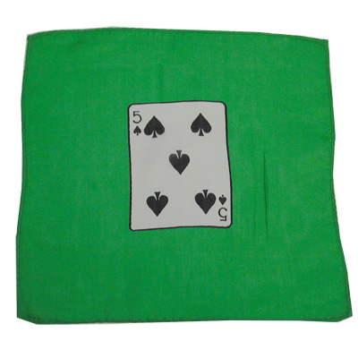 Card Silk Set 9 inch (5 of spades + blank) by Vincenzo Di Fatta