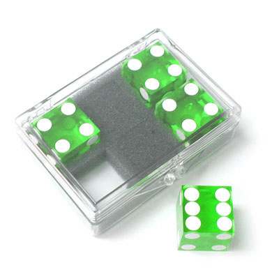 Dice 4-pack green Near-precision 19mm (casino)