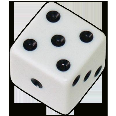 Die 1 White Economy w/ Black Spots 19mm - Trick